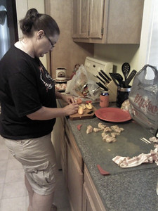 Shari preparing chicken bacon wrapped peppers