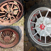 F-20 Rear Rims - Can't decide on which ones I want to use....<br /> <br /> (Clockwise from upper Left)<br /> <br /> F&H Variable Width,<br /> Cut Down Steel Wheels,<br /> Round Spoke