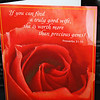Feeling the Love - A card my hubby got me, He is such a sweetheart, even if we don't make a big deal out of this holiday, he still breaks down a lot of the time and buys me a card...and sometimes flowers if he can, just to say he loves me.  He usually always picks a good card, but I especially love the one he got me this time.  :-))