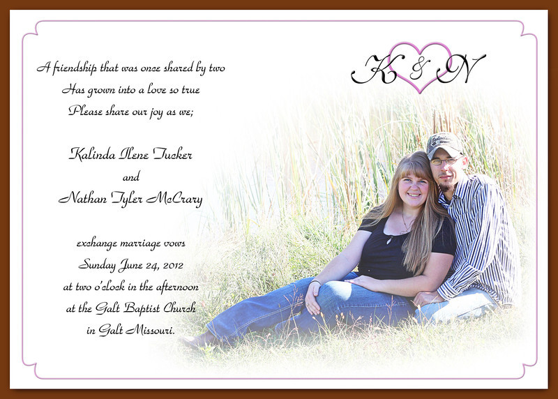 Kali's Invite - The wedding invitation I made for my niece.  :-))