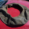 """Holey Inner Tube, Batman!"" I took this inner tube out of one of the F-20 front tires. I counted 28 patches - and two holes that weren't patched."