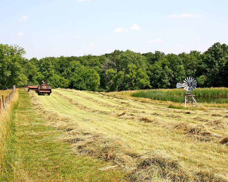 Working on hay at Dads!  His is pretty much done now....ours is next!