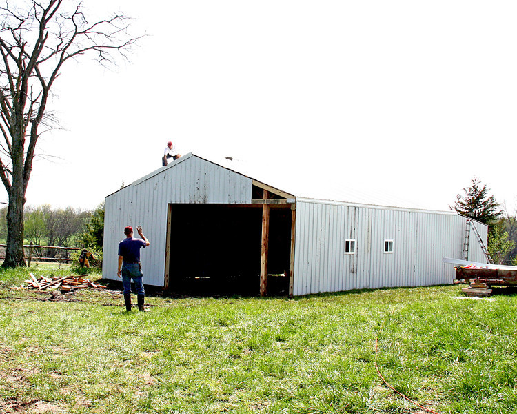 Working on the shed - More photos of Kirk and Galen working on Galen's work shop!