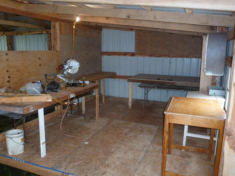 """Wood Shop - I even brought home enough 5/8"""" plywood and OSB for the table tops and part of the walls."""