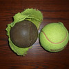 Old and New - This is what Peaches' ball is SUPPOSED to look like, and her old one.