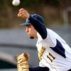 F. BRIAN FERGUSON/THE REGISTER-HERALD=WVU Mountaineer pitcher Harrison Musgrave delivers against Kansas on Friday evening.