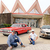 Wayne Lewis, left, and Okie Thompson, of Crab Orchard, with the Shade Tree Car Club, are preparing for the clubs first show at Tamarack.<br /> Rick Barbero/The Register-Herald