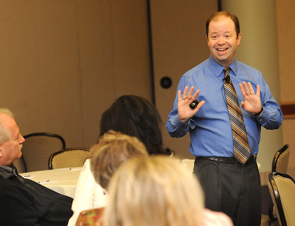 George Kerns, vice president of training and certification at Renaissance Learning, spoke during RESA 1 Leadership Enhancement Academy Thursday at Tamarack.<br /> Rick Barbero/The Register-Herald