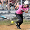F. BRIAN FERGUSON/THE REGISTER-HERALD=Liberty's Savanna Caron lays down a bunt against James Monroe during Wednesday afternoon action in Glen Daniels.