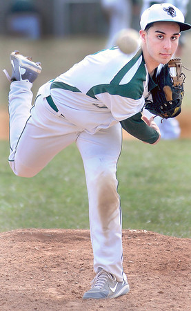 F. BRIAN FERGUSON/THE REGISTER-HERALD= Fayettevile pitcher Aaron Krise delievers as the Pirates took on Westside during Thursday action in Fayetteville.