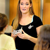 """F. BRIAN FERGUSON/THE REGISTER-HERALD=Miss West Virginia 2012, Kaitlin Gates talks to Beckley-Stratton Middle School students about her """"Healthy Kids, Healthy Futures"""" program, which targets childhood obesity, during a Thursday after school program."""
