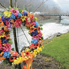 Colorful wreath was placed near the Miners Memorial on Main Street in Whitesville, in memory of the 29 miners whose lives were lost at Upper Big Branch on April 5, 2010.<br /> Rick Barbero/The Register-Herald