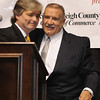Victor Flanagan, Chaiman of the Board, presented Frank Wood, with the Community Service Award during Beckley-Raleigh County Chamber of Commerce annual dinner held at the Beckley-Raleigh County Convention Center Friday evening.<br /> Rick Barbero/The Register-Herald