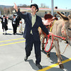 "Town of Rainelle Centennial Celebration was opened up with the grand entrance of, Rainelle mayor, Andrea ""Andy"" Pendleton, Rev Bob Daniels, Miranda Bragg, Glen Singer and donkey named Jasper. The were portraying the founders of Rainelle, Mrs and Mrs John Raine, daughter Nell Raine, Tom Raine and there donkey Jasper. <br /> Rick Barbero/The Register-Herald"