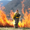 Peg Ainslie, fire management officer National Park Service, looks over the prescribed burn at the Sandstone Visitor Center. <br /> Rick Barbero/The Register-Herald