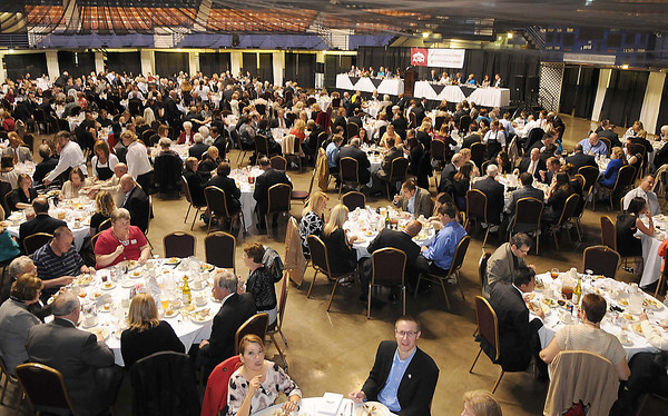 Large crowd attended the Beckley-Raleigh County Chamber of Commerce annual dinner held at the Beckley-Raleigh County Convention Center Friday evening.<br /> Rick Barbero/The Register-Herald