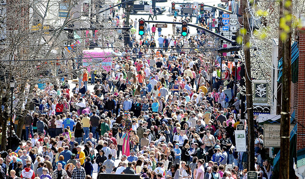 F. BRIAN FERGUSON/THE REGISTER-HERALD=The streets of Downtown Lewisburg were filled on Saturday for the 7th Annual Chocolate Festival.