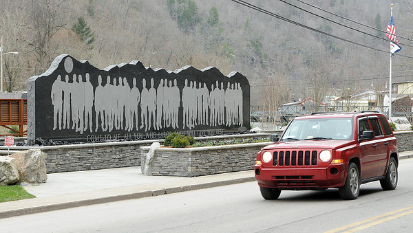 Miners Memorial on Main Street in Whitesville, in memory of the 29 miners whose lives were lost at Ubber Big Branch on April 5, 2010.<br /> Rick Barbero/The Register-Herald