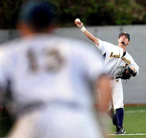 F. BRIAN FERGUSON/THE REGISTER-HERALD=The WVU Mountaineer Shortstop Taylor Minden, right, makes the throw to first baseman Ryan McBroom for the out against Kansas on Friday evening.