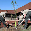 F. BRIAN FERGUSON/THE REGISTER-HERALD=CCC members (from left) Alex King, Jeff Stills and Alex Whitfield plant a tree outside the Mine Academy in Beaver during Eart Day on Monday.