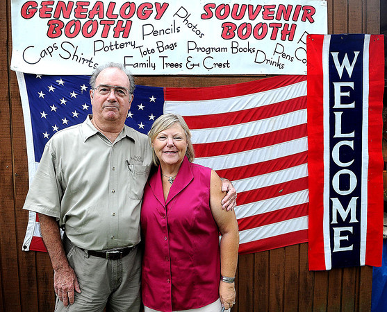 Don and Sallie Williams made the trip from Calofornia to run the Genealogy Booth during Saturday's Lilly Family Reunion. F. Brian Ferguson/The Register-Herald