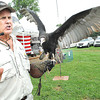 Johnathan Wood, owner of Extreme Raptors, displays a yellow headed vulture during his show at the West Virginia State in in Fairlea.<br /> Rick Barbero/ThE Register-herald