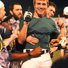 Griffin Moore, of WV Miners, celebrates after getting the winning hit against the Quincy Gems in the championship game.<br /> Rick Barbero/The Register-Herald