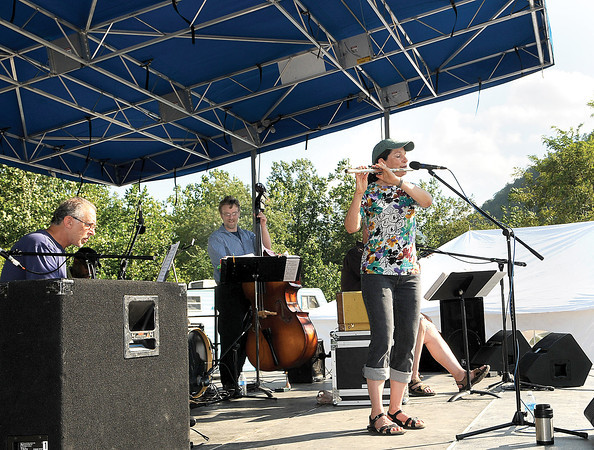 The band Doc Greenburg's Patient Jazz put out the tunes during Friday's Simply Blues and Jazz Festival in Sandstone. F. Brian Ferguson/The Register-Herald