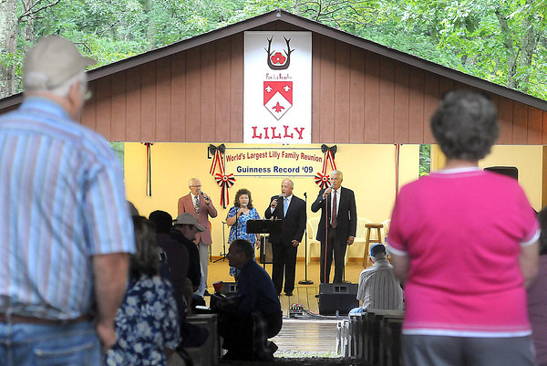 Lillys kept out of the rain and listened to good music at Flattop. during Saturday's Lilly Family Reunion. F. Brian Ferguson/The Register-Herald