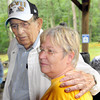 Mason Lilly, left, of Beckley, who has attended all but one of the Lilly Family Reunions, talks with Glades Richmond, right, of Flattop. during Saturday's Lilly Family Reunion. F. Brian Ferguson/The Register-Herald