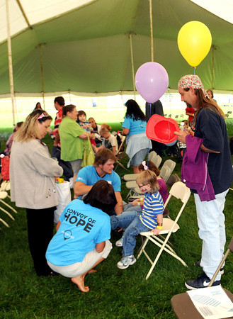 Free children's shoes were provided during Saturday's Day of Hope event at the YMCA Soccer Complex. F. Brian Ferguson/The Register-Herald