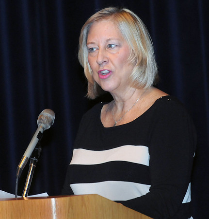 Beckley Mayoral candidate Ann Worley spoke at the Hullet Smith Theatre at Tamarack on Tuesday to inform the public of their platforms. F. Brian Ferguson/The Register-Herald