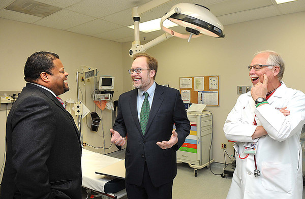 Dr. David Carrington, left, Dr. Michael Dobbs and Dr. Jim Kyle, talk about new stroke protocol and the Beckley ARH Hospital.<br /> Rick Barbero/The Register-Herald
