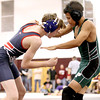 Park East's Justice Smith takes on Independence's Alex Hart during the Woodrow Wilson Middle School Duals Saturday afternoon.<br /> Brad Davis/The Register-Herald
