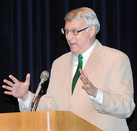 Beckley Mayoral candidate Bill O'Brien spoke at the Hullet Smith Theatre at Tamarack on Tuesday to inform the public of their platforms. F. Brian Ferguson/The Register-Herald