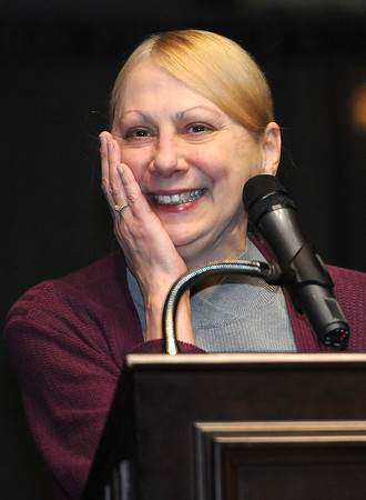 Mary Marcuzzi, of Huntington, speaks during the YMCA of Southern West Virginia Spirit of Beckley Community Service Award Banquet.<br /> Rick Barbero/The Register-Herald