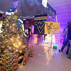 A West Virginia University themed Christmas tree sits on display during the 13th annual Festival of Trees at the Academy of Careers and Technology Tuesday night.<br /> Brad Davis/The Register-Herald