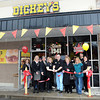 Ribbon cutting for Dickey's Barbecue on Eisenhower Drive in Beckley. Pictured cutting ribbon from left, LeeAnn Myles, customer relations manager Crossroads Chevrolet, Victor Flanagan, chairman of the board Raleigh County Chamber of Commerce, Stephanie and Preston Reeves, owners, Ellen Taylor, president Raleigh County Chamber of Commerce, and Frances Hemstreet, membership committee Raleigh County Chamber.<br /> Rick Barbero/The Register-Herald