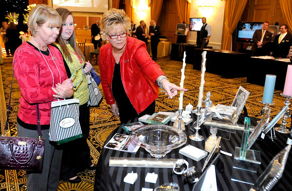 Terry and Natalie Nicholson talks Brenda Rapp, Retail manager and Buy for the Greenbrier during The Greenbrier Wedding Showcase on Sunday.