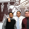 Woodrow Woodow Wilson High School football players, Ramon Edwards, left, signed with Glenville State College, Andrew Johnson, signed with Hargrave Military Academy and Mike Bailey signed with Concord Unversity.<br /> Rick Barbero/The Register-Herald