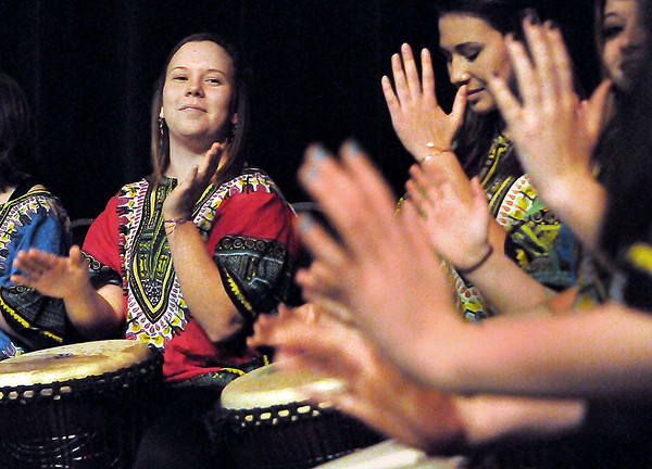 F. BRIAN FERGUSON/THE REGISTER-HERALD=Students from the Greenbrier Academy for Girls Traditional African Drummers take part in Tamarack's Sunday @ Two event.