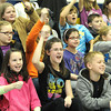 Shady Spring Elementary School 4th and 5th graders cheer for the Beckley Area Derby Dames in the school gym Friday afternoon.<br /> Rick Barbero/The Register-Herald