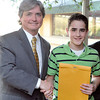 Victor Flanagan and Ryan Young a 8th grader a Shady Spring Middle School being award the top prize for the Career Day essay. Sponsored by the Beckley-Raleigh County Chamber of Commerce Education Committee. Photo by Chris Tilley