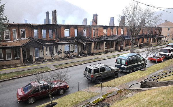 Brick row appartments on Temple Street in Hinton<br /> Rick Barbero/The Register-Herald