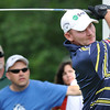 Tommy Gainey hits his tee shot on the 18th hole during the first round of The Greenbrier Classic Thursday on the Old White TPC Course at The Greenbrier Resort in White Sulphur Springs.<br /> Rick Barbero/The Register-Herald