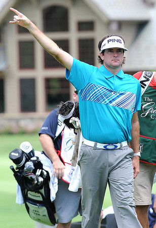Bubba Watson on the 8th hole during the first round of The Greenbrier Classic Thursday on the Old White TPC Course at The Greenbrier Resort in White Sulphur Springs.<br /> Rick Barbero/The Register-Herald