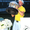 Jonas Blixt lifts the trophy after winning The Greenbrier Classic Sunday on the Old White TPC Course at The Greenbrier Resort in White Sulphur Springs.<br /> Rick Barbero/The Register-Herald