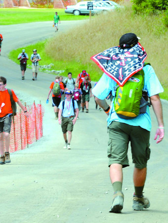 Scouts walking during the National Boy Scout Jamboree at the new Summit Bechtel Family National Scout Reserve in Mt. Hope, WV<br /> Rick Barbero/The Register-Herald