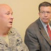 National Guard Lt. Col. David Lester, left, and UC-Beckley President Jerry Forster, right, speak to the press on Thursday about the large Department of Defense presence on the campus of UC-Beckley during the Boy Scout Jamboree. F. Brian Ferguson/The Register-Herald