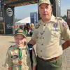 Larry Niederschulte and his son Ryan, 12, were one of the first visitors to enter the National Boy Scout Jamboree at the new Summit Bechtel Family National Scout Reserve in Mt. Hope, WV<br /> Rick Barbero/The Register-Herald
